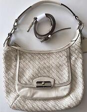 Authentic Coach Kristin Woven Leather Hobo Bag Purse Parchment 19314