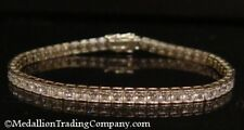 Solid 14k White Gold 3.5 mm 11 Carat Princess CZ Line Tennis Bracelet 10.1 grams