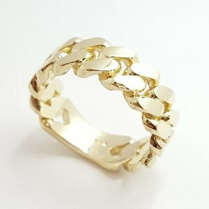 14K solid Yellow Gold Cuban link Ring Band fine gift jewelry 9g 7.6MM size 9.5