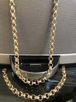18K Gold Filled Solid Diamond Cut 8mm Belcher Chain Necklace & Bracelet Set 18ct