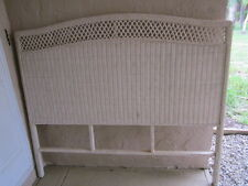 Wicker Full Size headboard cottage style Ivory Color