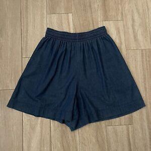 Gene Ewing Bis Women's size M Elastic Waist VTG Blue Denim Shorts
