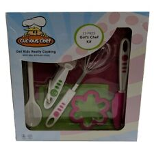 New Curious Chef 11- Pieces Cooking Set Green and Pink /w real kitchen tools