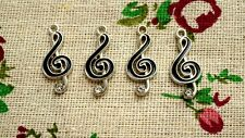 Music note treble clef charm black & silver pendant charm jewellery supplies