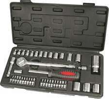 "43pc Socket Set 3/8"" & 1/4"" Metric Drive Screwdriver Bits Spark Plug Spinner"