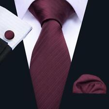 USA Solid Plain Classic Men's Tie Set Burgundy Red Silk Necktie Wedding Party