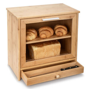 Bamboo Bread Bins 2 Layer Bread Storage Container Box With Transparent Window