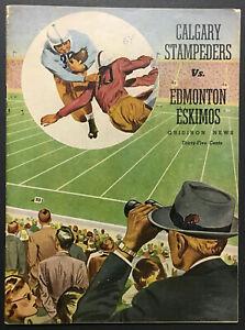 1954 CFL Football Program Edmonton Eskimos Vs Calgary Stampeders Autographed x7
