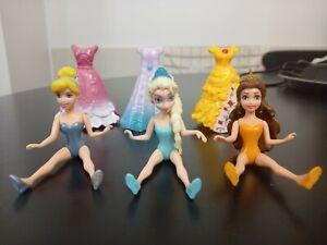 Disney mattel Princess Magiclip Dolls x3 Cinderella, Belle, Elsa & 3 dresses