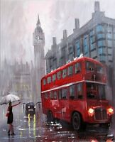 100%Hand-painted Oil Painting London Cityscape Bus 16*20inch  Decoration Fiugre