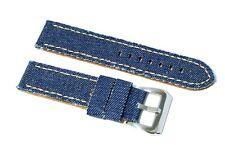 Cinturino per olorogio blu tessuto jeans vintage cordura pelle ansa 24mm