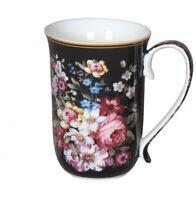 Fine Bone China  Bouquet In Black Coffee Tea Mug w Handle Cup 405cc In Box Gift
