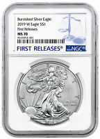 2019 W 1 oz Burnished American Silver Eagle $1 NGC MS70 FR SKU55860