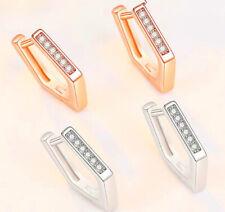 Pentagon 925 Sterling Silver Huggie Hoop Stone Stud Earring Women Jewellery Gift