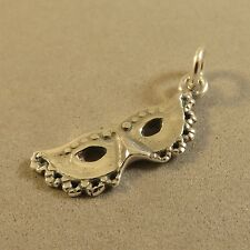 .925 Sterling Silver 3-D MASQUERADE/CARNIVAL MASK CHARM NEW Pendant 925 DU56
