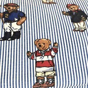 Ralph Lauren Polo Teddy Bear Striped Vintage Twin Flat Sheet