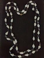 "Vintage Gold Tone Black White Acrylic Bead Necklace Long 55"" Single Strand"