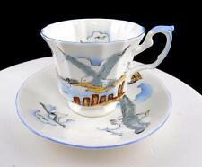 "ELIZABETHAN ENGLAND SEAGULL WATERFRONT DOCK SCENE 3"" FOOTED CUP & SAUCER SET"