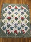 Blocks W/ Flowers on TAPESTRY Afghan Blanket Sofa Couch THROW 54 X 70