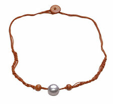 BOHO TRENDY STYLE ETHNIC THREAD NECKLACE,LIGHT BROWN & SILVER WOOD BEADS(ZX50)