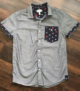 Boys Penguin Size XL 14/16 Chambray 4th of July Button Up Short Sleeve Shirt Top