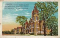 Postcard First Baptist Church Columbus MS