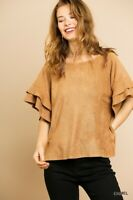 Umgee Suede Layered Ruffled Short Sleeve Top Size Small