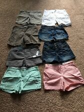Lot of 8 Assorted Womens SZ 6 Classic Chino Shorts Gray Green Cotton Gently Worn