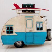 Vintage Metal Holiday Caravan Model, Surfboard, Suitcase, Collectable Ornament