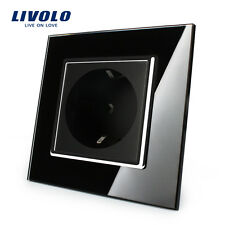 Livolo EU Power Socket Black Crystal Glass Panel 16A Wall Outlet without Plug