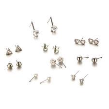 9 pairs silver star shamballa balls hearts Stud Earrings job lot jewellery E1202