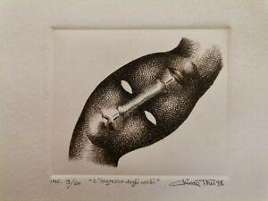 """Incisione acquaforte Chiara Toni '93 """"L' ingresso degli occhi"""" 9/60"""