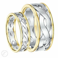 9ct Gold Two Colour Celtic Wedding Rings 5mm 7mm 9k