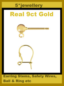 9ct 375 yellow gold earring fitting stud bead & ring safety hook wire pin stem