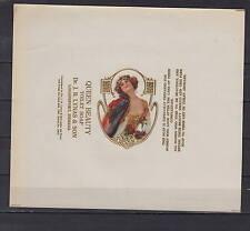 Ancienne étiquette Savon Queen Beauty Femme 3  dimensions 18  cm x 15,5  cm