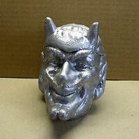 "DEVIL Satan Satyr 6.3"" Metal Ashtray Vase Casket statue Urn Box Russian USSR 60s"