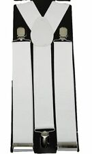 Mens WIDE WHITE Suspenders Adjustable Y-Shape Braces Unisex Clip-on Suspenders