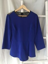 Gorgeous TIBI Blue Lace Insert Blouse Top Size USA 8 M Au 12 EUC
