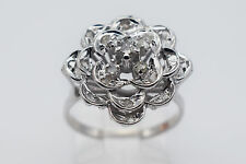 12K White Gold Flower Lady Ring with 0.30 Ct Round Diamonds - Band Size 7 #1365