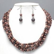 Brown Layered Glass Imitation Pearl Necklace Earrings Women Jewelry Set