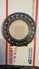 Vintage metal picture frame 4 3/4in. Metal&faux diamonds