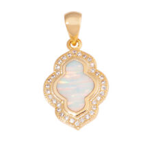 White Fire Opal Zircon Yellow Gold Plated Women Jewelry Fashion Pendant OD7013