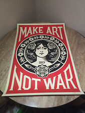 """OBEY Giant Shepard Fairey """"Make Art Not War"""" Lithograph Signed"""