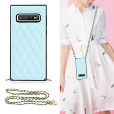 For Samsung Galaxy S10e S10+ S9+ Slim Leather Case Strap Crossbody Lanyard Cover