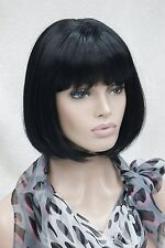 Cure jet black centre skin part short straight bangs synthetic women's BoBo wig