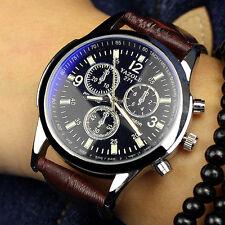 Mode Herren Sportuhr Uhren Edelstahl Leder Quarz Luxus Business Armbanduhren