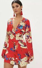 Pretty Little Thing Red Floral Long Sleeve Dress Size 10 New