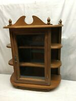 "Vintage  WOOD 3-TIER Wall Hung CURIO CABINET w/Glass Door! 21""X19""x7"""