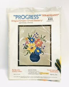 "Vintage Progress Original Crewel Stitchery ""Fragrant"" 16X20"" NEW SEALED"
