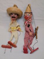 2 Vintage Marionette string puppets MEXICO Old Clown Lot Set Sombrero Mexican 2